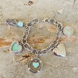 ♥️ Guess ♥️ Silver & Blue Charm Bracelet